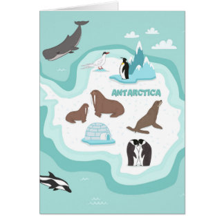 Kids Animal Map of Antarctica Card