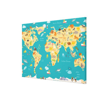 Kids Animal Map of the World Canvas Print