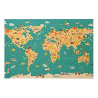 Kids Animal Map of the World Wood Canvases