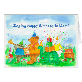 Kids Animal Parade Birthday Custom Name Card