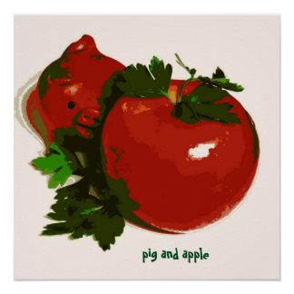 Kid's Art Poster Pig and Apple Series Art