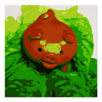 Kid's Art Poster Pig On a Bed of Lettuce Series