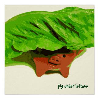 Kid's Art Poster Pig Under Lettuce Series Art