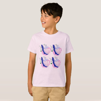 Kids artistic tshirt pink with Seashells