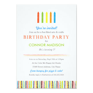 Kids Arts and Crafts Birthday Party Invitation
