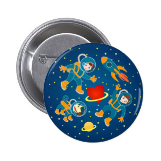 Kids Astronauts love space travel 2 Inch Round Button
