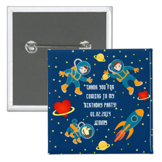 Kids Astronauts love space travel 2 Inch Square Button