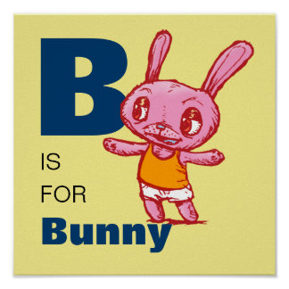 """Kid's """"B is for Bunny"""" Alphabet Poster"""
