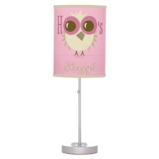 Kids Babies Bedroom OWL LAMP Hoo's Sleepy Pink