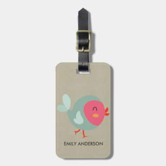 KIDS BABY CUTE PERSONALIZED PINK KRAFT BABY BIRD LUGGAGE TAG