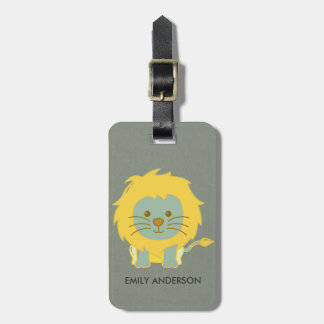 KIDS BABY CUTE PERSONALIZED YELLOW GREY BABY LION LUGGAGE TAG