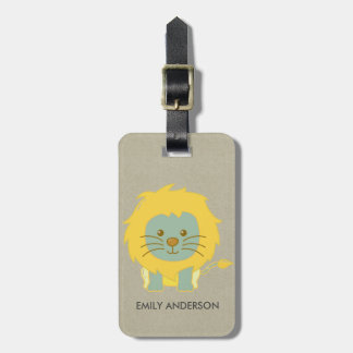 KIDS BABY CUTE PERSONALIZED YELLOW KRAFT BABY LION LUGGAGE TAG