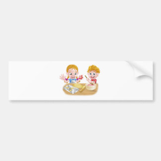 Kids Baking Cakes and Cookies Bumper Sticker