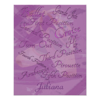 Kids Ballet Dance Personalized Poster
