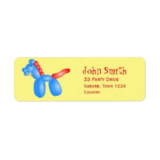 Kid's balloon animal party return address label