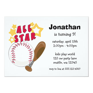 Kids Baseball All Star Birthday Party Invitations