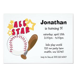 "Kids Baseball All Star Birthday Party Invitations 5"" X 7"" Invitation Card"