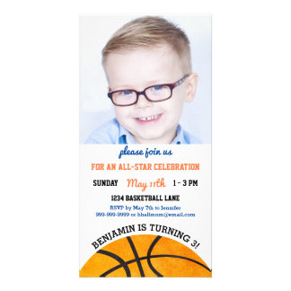 Kids Basketball Birthday Party Sports Themed Photo Photo Card