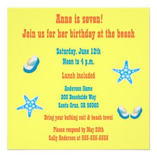 Kids Beach Birthday Party Custom Announcements