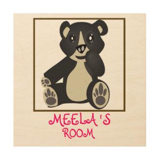 Kids Bedroom Toy Teddy Bear Wood Prints