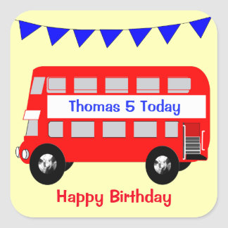 Kids Big Red Bus Happy Birthday Square Sticker