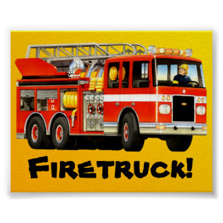 Kid's Big Red Fire Truck Poster