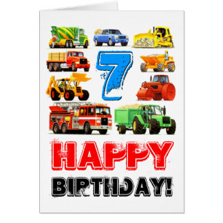 Kid's Big Trucks 7th Birthday Card