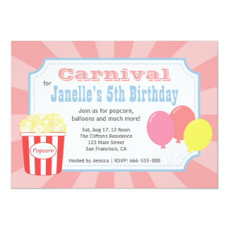 Kids Birthday - Carnival with Popcorn & Balloons Card