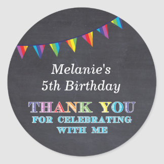 Kids birthday chalkboard bunting stickers favors