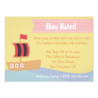 Kids Birthday Party: Cute Pirate Girl Theme Card