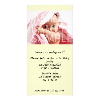 Kid's birthday party invitation personalized photo card
