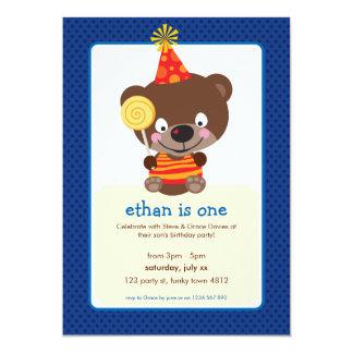KIDS BIRTHDAY PARTY INVITE teddybear lollipop 1P