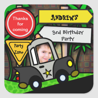 Kids Birthday Sticker: Police Square Sticker