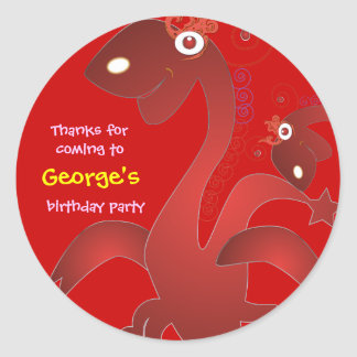Kids birthday Thank You Stickers: Red Dragons Classic Round Sticker