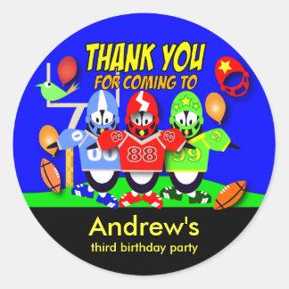 Kids birthday Thanks Stickers: American Football Classic Round Sticker