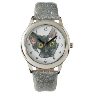 Kid's Black Cat Silver Glitter Strap Watch