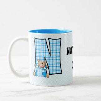 """Kid's Blue Bear Monogram """"N"""" Mug"""