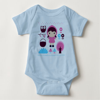 Kids blue bodysuit with hand-drawn Girl