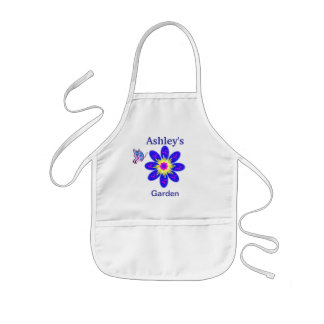 Kid's Blue Flower Garden Apron Personalized Name