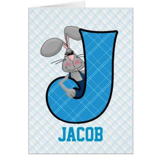 "Kid's Blue Jackrabbit Monogram ""J"" Cards"