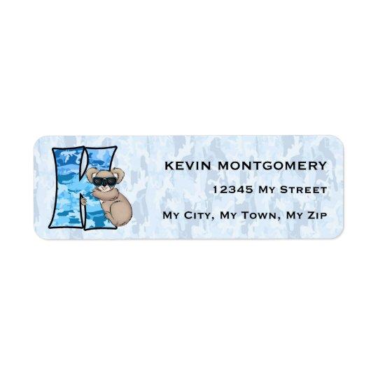 """Kid's Blue Koala Monogram """"K"""" Address Labels"""