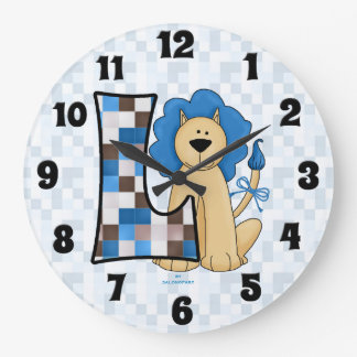 "Kid's Blue Lion Patchwork Mongoram ""L"" Clock"