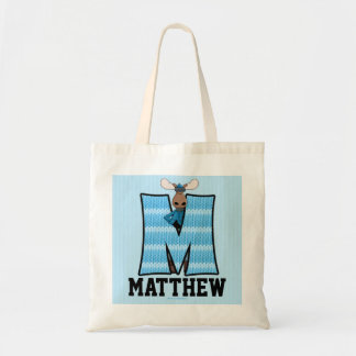 Kid's Blue Moose Monogram Letter M Tote Bag