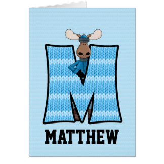 "Kid's Blue Moose Monogram ""M"" Cards"