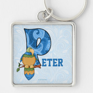 "Kid's Blue Paisley Parrot Monogram ""P"" Keychain"