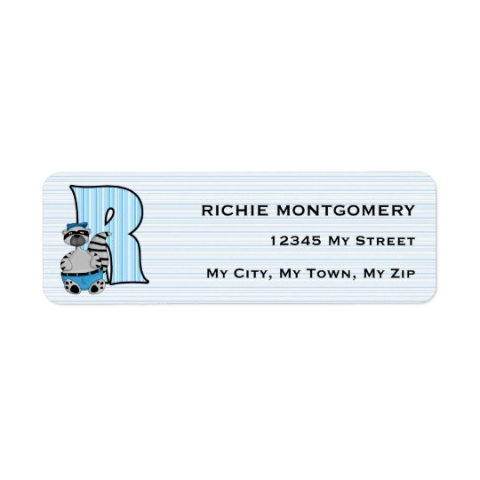 "Kid's Blue Raccoon Monogram ""R"" Address Labels"