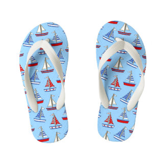 Kids Blue Sailboat Patterned Flip Flops