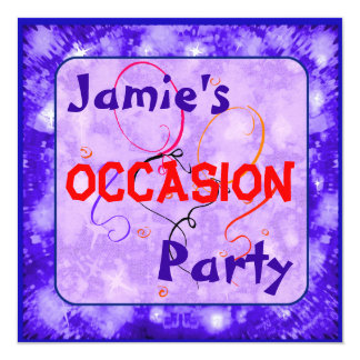 """Kids blue sparkly party classic cars 5.25"""" square invitation card"""