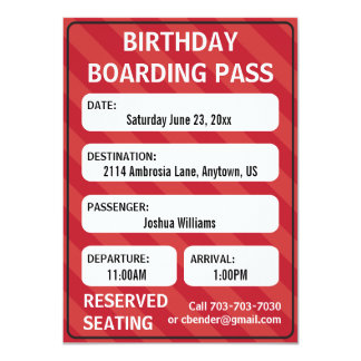 Kids Boarding Pass Invitation