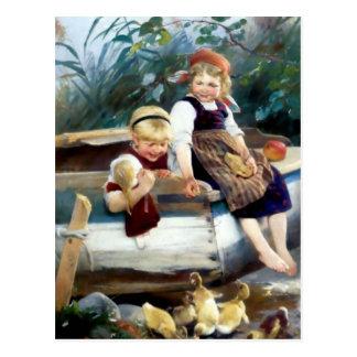 Kids boat and ducks postcard
